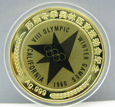 1960 Meiguosi Winter Olympics Gold Colour Badge Coin