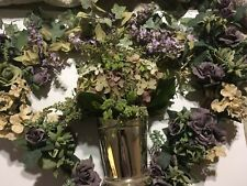 Beautiful Silk Flower Swags and Planter Purple Roses, Lilac, & Beige Hydrangeas