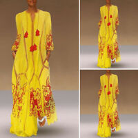 Vintage Femme Simple Manche Longue Col V Cravate Floral Robe Dresse Maxi Plus