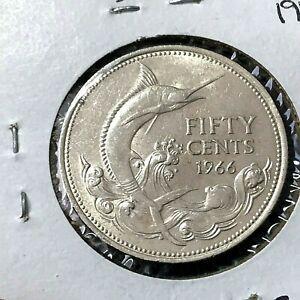 1966 BAHAMAS SILVER 50 CENTS MARLIN HIGH GRADE COIN