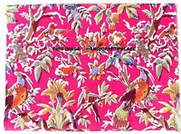 Pink Indian Cotton Fabric Bird Print Fabric Crafting Material By the Yard Fabric