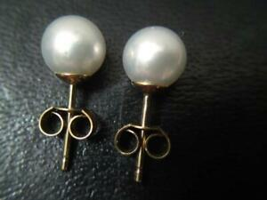 Gorgeous Quality 7mm Natural Cultured Genuine 9CT 375 Yellow Gold Pearl Earrings