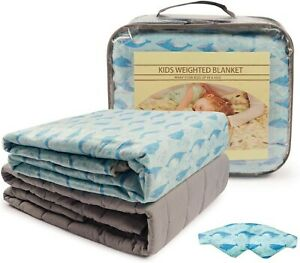 Weight Blanket W/Removable Washable Kids Duvet Cover + Eye Mask 7 lbs 41x60""