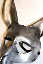 Silver  Rabbit Bunny Mask Handmade Leather Venetian Masquerade