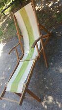 Ancienne Chaise Longue Bois Et Tissus D'origine