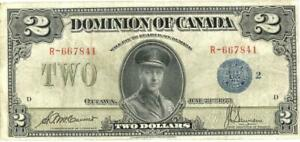 Canada $2 Dollars Currency Large Size Banknote 1923