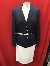 TAHARI BY ARTHUR LEVINE  SKIRT  SUIT/SIZE 18/RETAIL$280/NAVY/WHITE