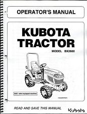Kubota BX2660 Tractor + STD Deck Operator Manual
