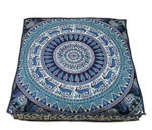 """Indian Cotton Mandala Pouf Handmade Seating 35""""X35"""" Inches Square Cushion Cover"""