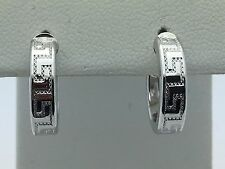 New 14K White Gold Circle Round Greek Key Hoop Hollow Loop Earrings 1.5 grams S