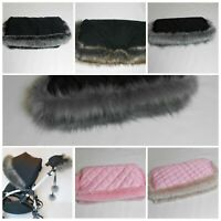 Pram Handmuff- Padded /Fleece - Pushchair Pram Mitts Gloves Luxury faux fur trim