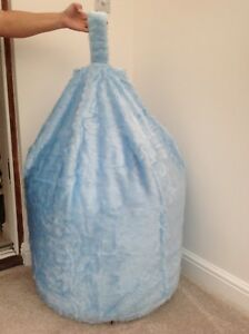 Cover only bean bag adult baby blue faux fur 6 cubic ft size soft toy storage