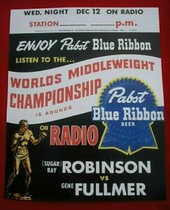 SUGAR RAY ROBINSON GENE FULLMER 1957 FIGHT PABST BLUE RIBBON BEER BOXING POSTER
