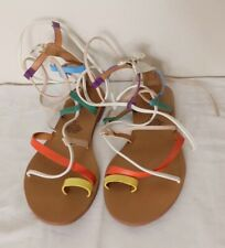 H&M Rainbow Leather Gladiator Strappy Ankle Tie Sandals EU 37 UK 4