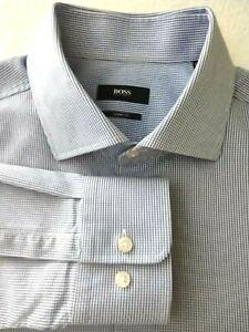 Hugo Boss Mens Dress Shirt  17.5 x 35 Sharp Fit Blue White Check Luxury Cotton