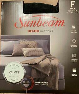 Sunbeam Heated Blanket - FULL sized - Velvet - Slate Gray New In Box