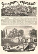 Brooklyn Heights, Opposite the City of New York  -   Antique Print  -  1854