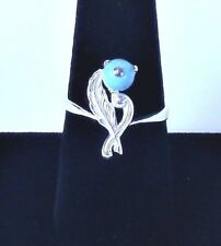 Ring With Turquoise Round Gemstone 925 Sterling Silver Hand Made