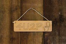 4U2P Toilet Door Wooden Hanging Sign Engraved  Plaque Novelty Hand Made Gift