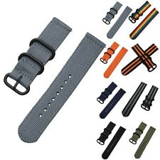 18/20/22/24mm Nylon Canvas Wrist Watch Band Strap Classic Buckle Quick Release