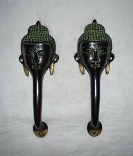Pair Lord Gautama Buddha Door Handle Meditation Design Brass Any Door Decor UR54