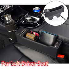 Black Car Driver Seat Organizer Catch Pocket Box Cup Holder w/ USB Charger LHD