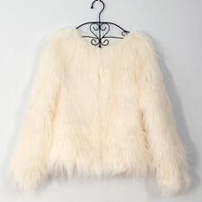 Women's Shaggy Mongolian Warm Faux Fur Open Front Short Jacket Soft Fluffy Coat