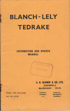 """Original Blanch-Lely """"Tedrake"""" Instruction and Spare Parts Manual"""