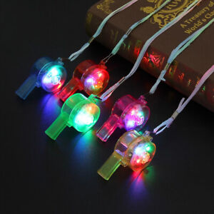 Flashing Whistle Colorful Lanyard LED Light Up Fun In the Dark Party Rave Glow~-