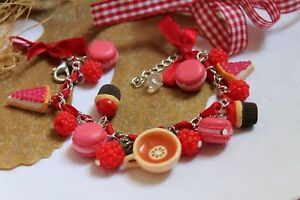 Jewelry Bracelet Raspberries / Cheesecake / Cupcake / Macarons
