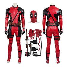 Superhero X-Men Deadpool Wade Wilson Jumpsuit Cosplay Costume Red PU Leather