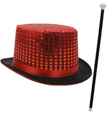 RED SEQUIN TOP HAT DANCE CANE BOW TIE FANCY DRESS RINGMASTER CABARET SHOW