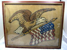 Antique Americana Textile Embroidery American Eagle 23 Stars - Gilt Frame