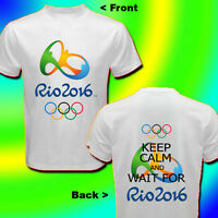 RIO 2016 OLYMPIC GAMES - KEEP CALM AND WAIT FOR RIO 2016 WHITE T-SHIRT Sz S-3XL