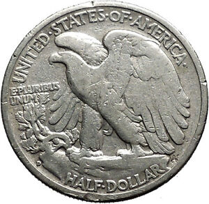 1943 WALKING LIBERTY Half Dollar Bald Eagle United States Silver Coin i44720