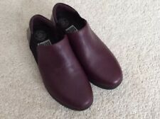 Ladies Fitflop Superchelsea Slip On Leather Shoes -Deep Plum Mix - UK3 Brand New
