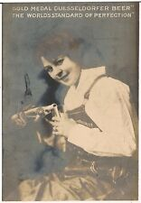"""Duesseldorfer Beer"" Pretty Lady Pouring Beer Advertising RP Postcard"