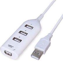 1M WHITE HIGH SPEED 4 PORT USB 2.0 HUB EXPANSION SPLITTER ADAPTER PC LAPTOP
