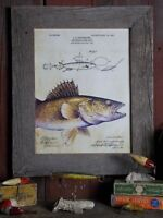 Fishing Lure Patent Art Print Unframed Vintage Walleye Fish Cabin Wall Decor