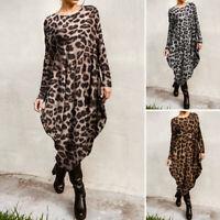 Vintage Femme Imprimé léopard Manche Longue Irrégulièr Loisir Robe Dresse Plus