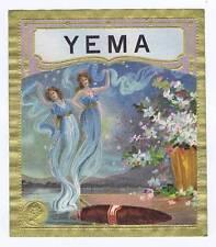 Yema, original outer cigar box label, women in smoke
