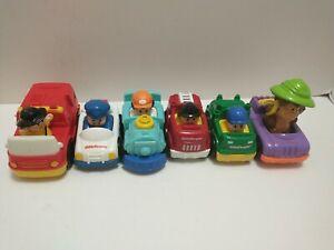 4 Fisher Price Little People Wheelies Racers Race Track & 2 McDonald's cars