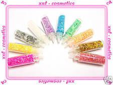 10 Flaschen Nail Art mini Fäden Flitter Glitter Strips