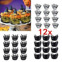 12X Halloween Spider Cupcake Wrappers Paper Cake Topper Favor Party Decor #L2