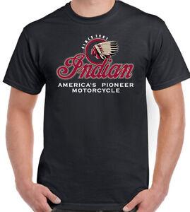 Indian American Motorcycle T-Shirt Biker Motorbike Bikie Tee Top