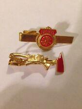 Fireman Tie Bar Clips Lot (2) Firefighter FD Fire Department Gold Red