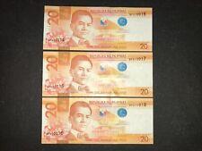 Philippines NGC 2016F 20 Pesos (Mismatch SN Error) 3 consecutive SN banknotes -B