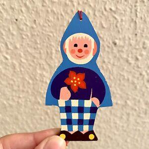 1970er Christbaumschmuck Mertens-Kunst Zwerg m Weihanchtsstern 9cm Holz Deko ALT
