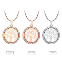 18K Gold Plated Tree of Life CZ Cubic Zirconia Pendant Chain Necklace Jewellery