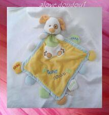 Doudou Peluche Plat Chien Jaune Bleu Blanc Mon Super Doudou Baby Nat'